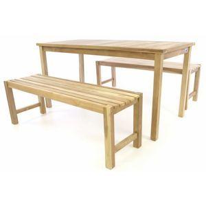 Divero 47269 Zahradní set lavic a stolu - neošetřené týkové dřevo - 150 cm