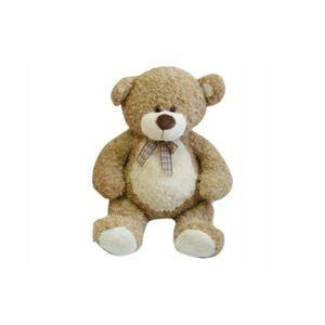Medvěd s mašlí velký béžový kudrnatý 0+ 80 cm