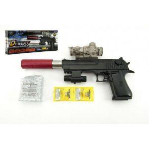 Teddies pistole plast/kov 33 cm na vodní kuličky náboje na baterie se světlem v krabici 34x13x4 cm