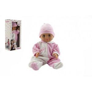 Hamiro panenka miminko 40cm pevné tělíčko růžovo-bílý obleček
