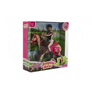 Teddies Kůň hýbající se + panenka žokejka plast 35x36x11cm
