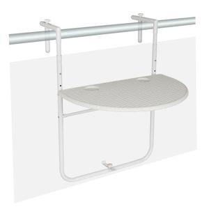 Závěsný sklopný stolek ratanového vzhledu - bílý