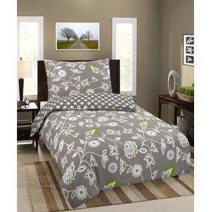 Jahu bavlna povlečení Premium Květiny hnědá 140x200 70x90