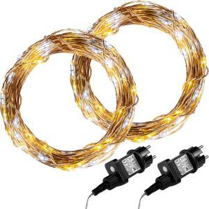 Sada 2 kusů světelných drátů 50 LED - teplá