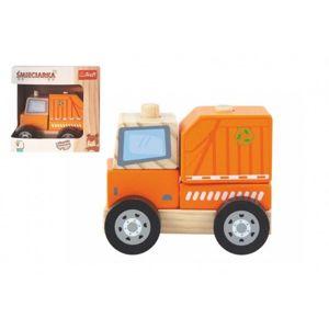 Popelářský vůz dřevěná hračka skládací 11cm v krabičce 13x13x9cm 12m+