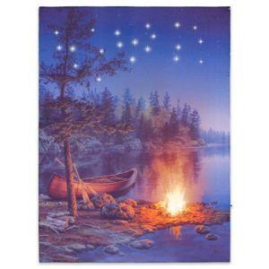 Nástěnná malba horské jezero, 22 LED, 30 x 40 cm