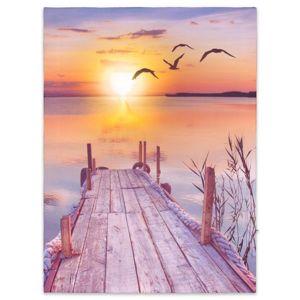 Nástěnná malba západ slunce u jezera, 1 LED, 30 x 40 cm