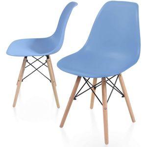 Sada jídelních židlí s plastovým sedákem, 2 kusy, modré