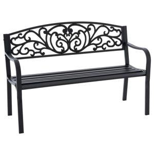 Zahradní kovová lavička ve starožitném stylu, 127 x 86 cm