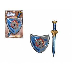 Meč se štítem pěnový 53 cm na kartě